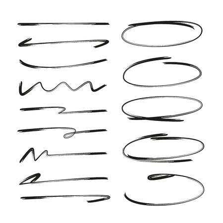 Illustrazione per collection of hand drawn underlines and circle markers - Immagini Royalty Free