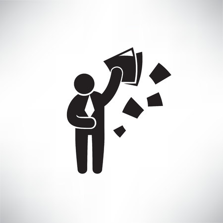 Illustration for business man throwing documents for resignation concept - Royalty Free Image