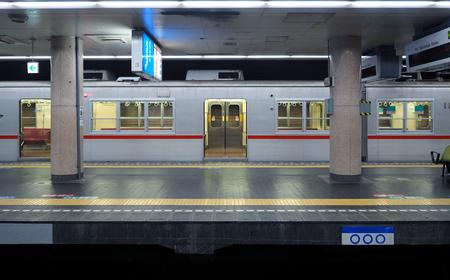 Foto de Old and dirty train platform or underground subway station in Osaka city Japan. - Imagen libre de derechos