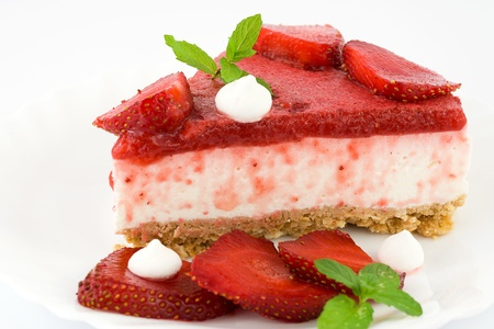 cheesecake with yogurt and strawberries