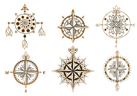 Ilustración de Icons and design elements. Set of vintage wind roses, compasses. - Imagen libre de derechos