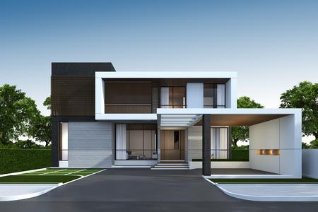 Foto de 3D rendering of tropical house exterior with clipping path. - Imagen libre de derechos