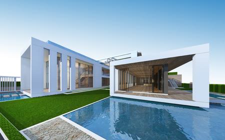 Foto de 3D rendering of tropical house exterior - Imagen libre de derechos