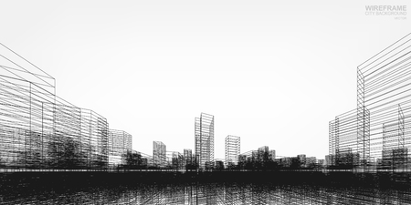 Illustration pour Perspective 3D render of building wireframe. Vector wireframe city background of building. - image libre de droit