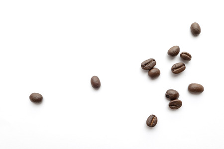 Coffee beans isolated on white background. Close-up image.