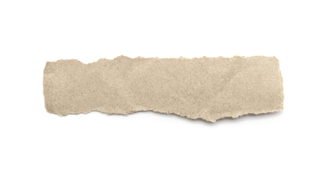 Photo pour Recycled paper craft stick on a white background. Brown paper torn or ripped pieces of paper isolated on white with clipping path. - image libre de droit
