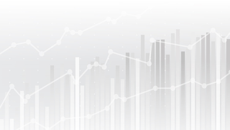 Illustration for White Abstract Simple Uptrend Financial Chart Background. - Royalty Free Image