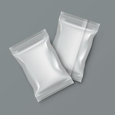 Illustration for White Blank Foil Food Packing. Vector illustration. - Royalty Free Image