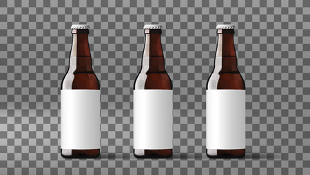 Ilustración de Realistic Clear Transparent Beer Bottles With White Label. EPS10 Vector - Imagen libre de derechos