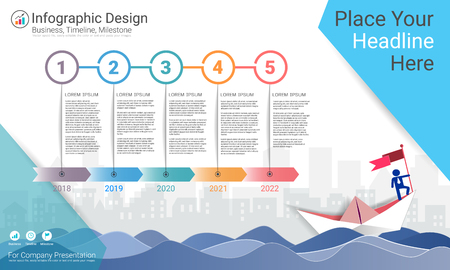 Ilustración de Business infographics template, Milestone timeline or Road map with Process flowchart 5 options, Strategic plan to define company values, Scheduling in project management to make facts and statistics. - Imagen libre de derechos