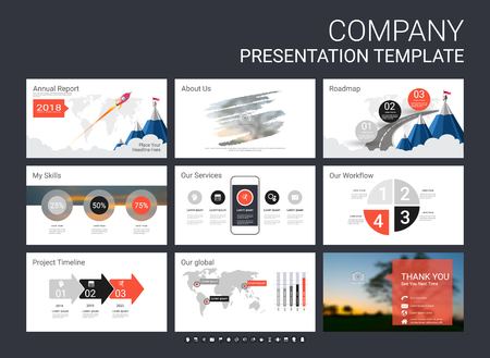 Illustration pour Presentation template with infographic elements, designs cover all styles and creative to formal and business presentations, flyer and leaflet, corporate report, marketing, advertising, annual report. - image libre de droit