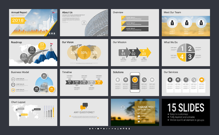 Ilustración de Presentation template with infographic elements, designs cover all styles and creative to formal and business presentations, flyer and leaflet, corporate report, marketing, advertising, annual report. - Imagen libre de derechos