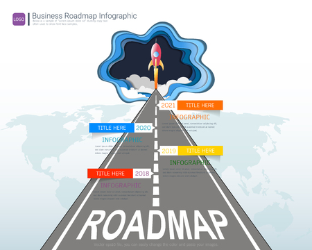 Ilustración de Roadmap timeline infographic design template, Key success and presentation of project ambitions, Can be used roadmap management for any business plan to achieving your project goals is clear to you. - Imagen libre de derechos