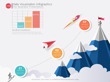 Ilustración de Data Visualization infographic design, Road map or strategic plan to define company values, Can be used milestones for scheduling in project management to mark specific points along a project timeline - Imagen libre de derechos