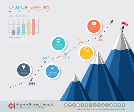 Ilustración de Milestone timeline infographic design, Road map or strategic plan to define company values, Can be used milestones for scheduling in project management to mark specific points along a project timeline. - Imagen libre de derechos