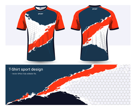 Illustration pour Soccer jersey and t-shirt sports design template, front and back for football club or activewear uniforms, Ready for customize logo and name, Easily to change colors and lettering styles in your team. - image libre de droit