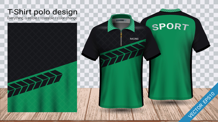 Illustration pour Polo t-shirt with zipper, Soccer jersey sport mockup template for football kit or activewear uniform for your team, school, company, or any occasion, Everything is edible, resizable and color change. - image libre de droit