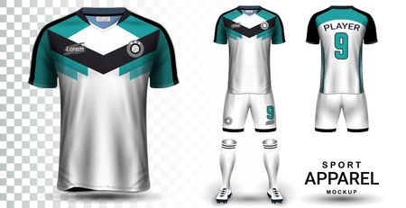 Ilustración de Soccer Jersey and Football Kit Presentation Mockup Template, Front and Back View Including Sportswear Uniform, Shorts and Socks and it is Fully Customization Isolated on Transparent Background. - Imagen libre de derechos