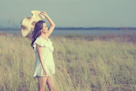 Beautiful young woman enjoying the fabulous nature, dream soft style