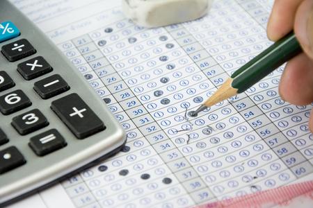 Foto de the answer sheet for examination test of student - Imagen libre de derechos