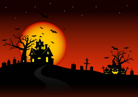 Illustrazione per Halloween night and the moon background. - Immagini Royalty Free