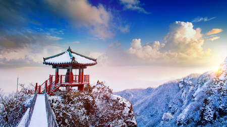 Photo for Landscape in winter,Guemosan in korea. - Royalty Free Image