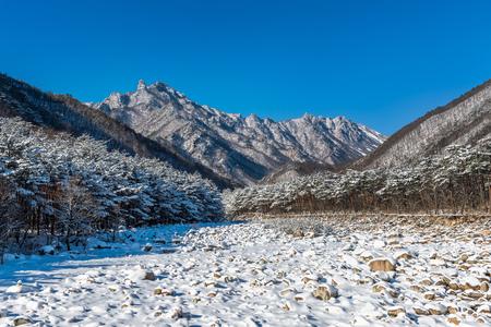 Photo pour Seoraksan national park in winter, South Korea. - image libre de droit