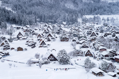 Photo pour Shirakawa-go village in winter, Japan. - image libre de droit