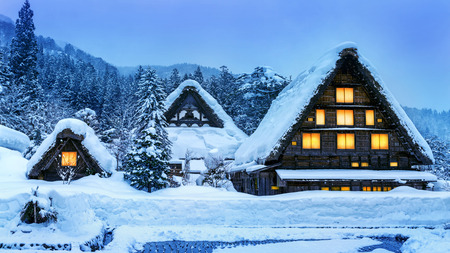 Photo for Shirakawa-go village in winter - Royalty Free Image