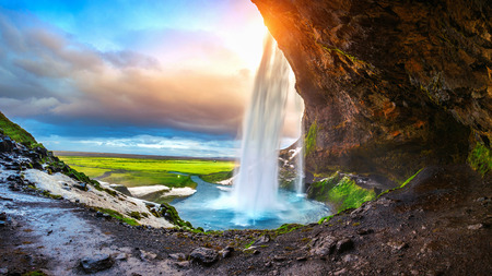 Photo for Seljalandsfoss waterfall during the sunset, Beautiful waterfall in Iceland. - Royalty Free Image