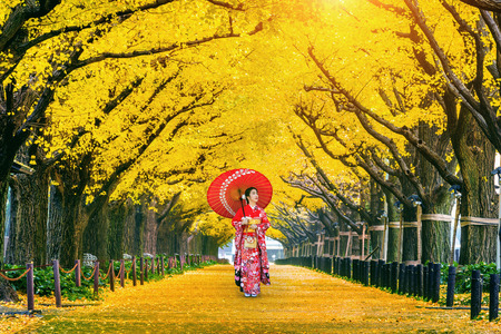 Foto de Beautiful girl wearing japanese traditional kimono at row of yellow ginkgo tree in autumn. Autumn park in Tokyo, Japan. - Imagen libre de derechos