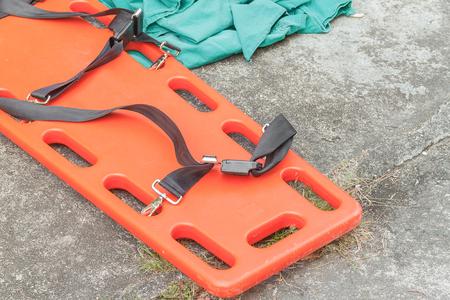 Foto de stretcher for emergency paramedic service, Emergency medical equipment(select focus stretcher) - Imagen libre de derechos