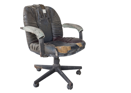 Foto de Black Office chair old damage leather and dirty isolated on white background, with clipping path - Imagen libre de derechos