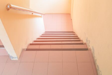Photo pour stairs walkway down terrazzo floor. select focus with shallow depth of field - image libre de droit