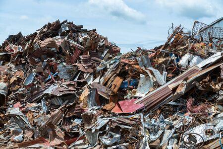 Foto de Scrap metal on recycling plant site, Recycling industry. - Imagen libre de derechos