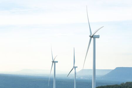 Photo for Turbine Green Energy Electricity, Windmill for electric power production, Wind turbines generating electricity on the mountain , Clean energy concept. - Royalty Free Image