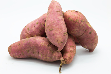 Photo for Purple fressh sweet potato on white background - Royalty Free Image