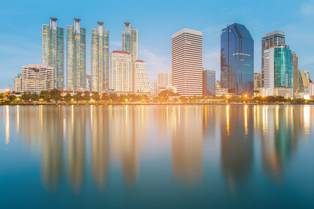 Photo for Blue twilight office building with water reflection, cityscape downtown background - Royalty Free Image