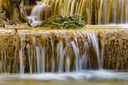 Photo pour Little plant over stream tropical waterfall, natural landscape background - image libre de droit