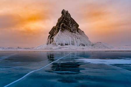 Photo for Rock on freeze water lake, Baikal Russia winter season natural landscape background - Royalty Free Image