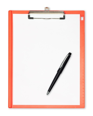 Photo pour clipboard with  pen isolated on white - image libre de droit