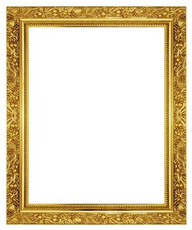 Foto de The antique gold frame on the white background - Imagen libre de derechos