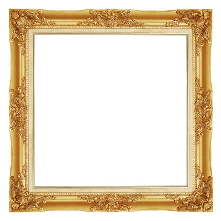 Photo pour The antique gold frame on the white background - image libre de droit