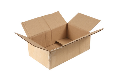 Foto de open old cardboard box isolated on white - Imagen libre de derechos