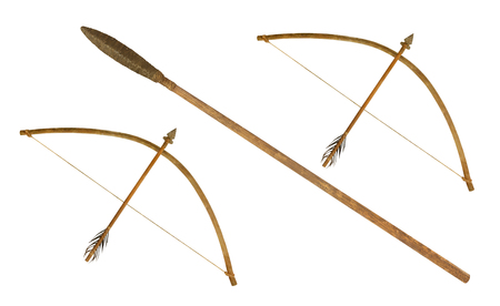 Photo for ancient spear and  bow isolated on white background - Royalty Free Image