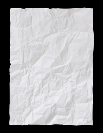 Photo pour White Crumpled paper psolated on black background with clipping path - image libre de droit