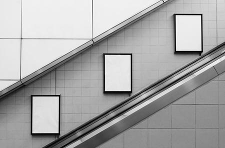 Foto de bill board ads at escalator side - Imagen libre de derechos