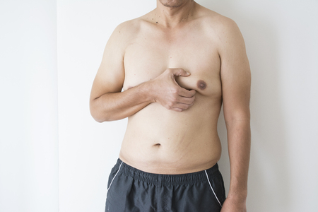 Photo for close up of man boob of fat man - Royalty Free Image
