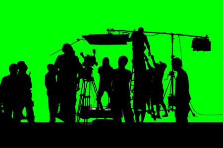 Photo pour A shot of green screen working group of production. - image libre de droit