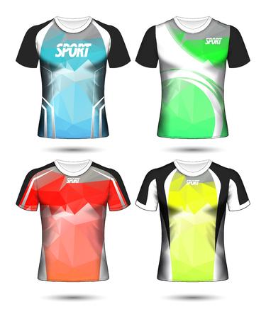 Ilustración de Set of Soccer sport t-shirt layout design poly template and polo shirt vector illustration  - Imagen libre de derechos